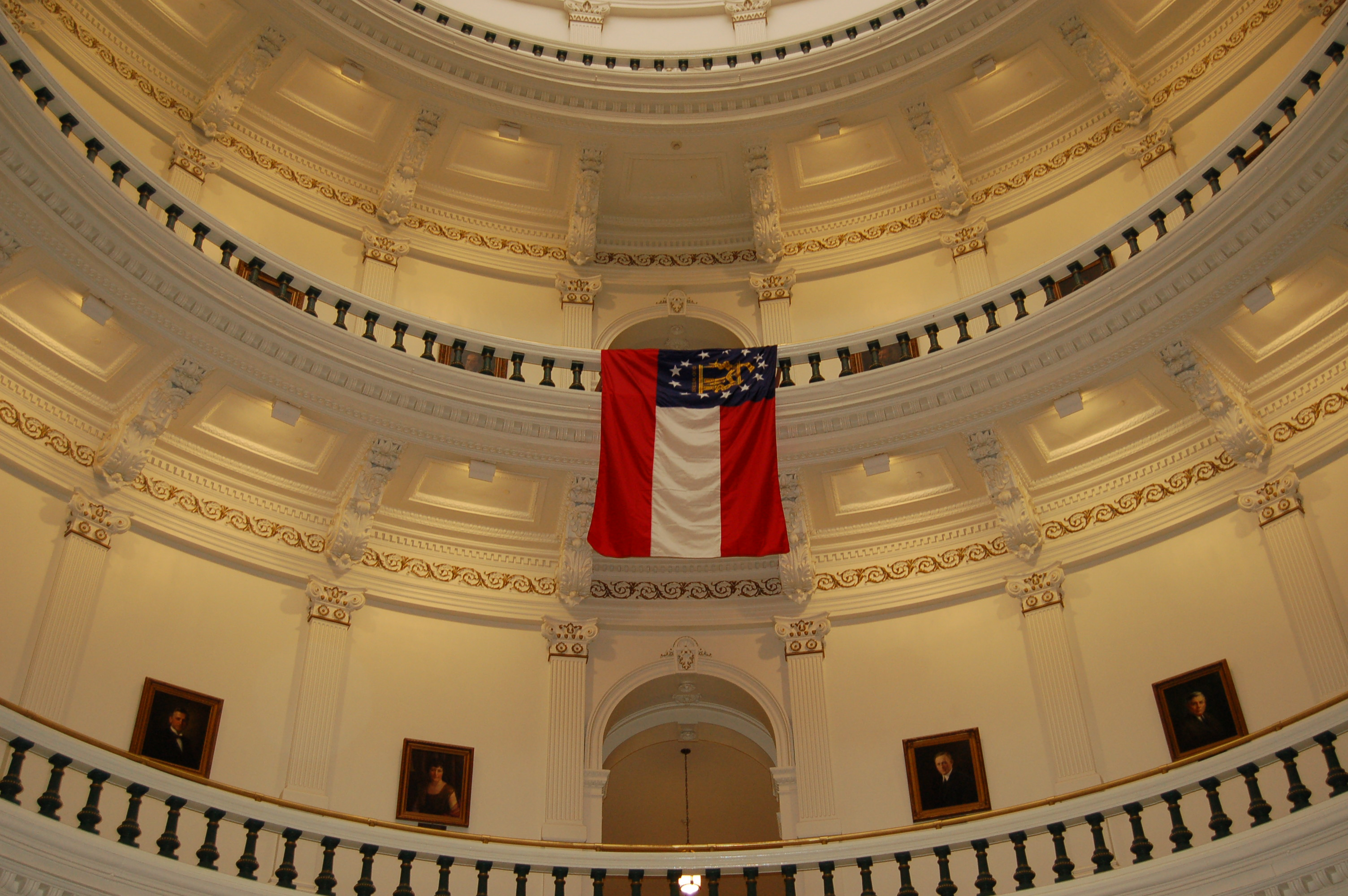 Georgia Governor Sonny Perdue Georgia State Flag Hangs